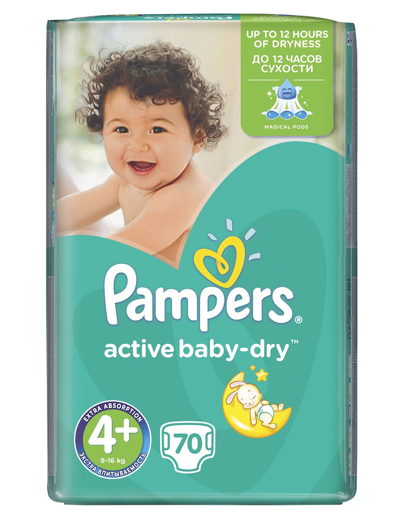 Pampers Active Baby-Dry Dětské pleny velikost 4+ Maxi+ 70 ks