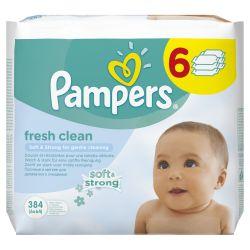 Pampers Fresh Clean  čisticí ubrousky 6x64 ks