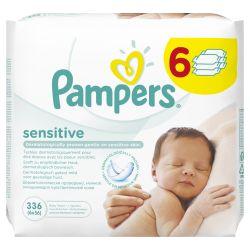 Pampers Sensitive  čisticí ubrousky 6x56 ks