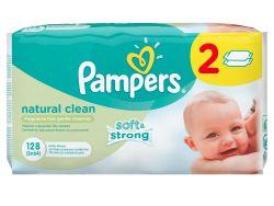 Pampers Natural Clean čisticí ubrousky 2 x 64 ks