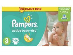 Pampers Active Baby-Dry Dětské pleny velikost 3 Midi 108 ks