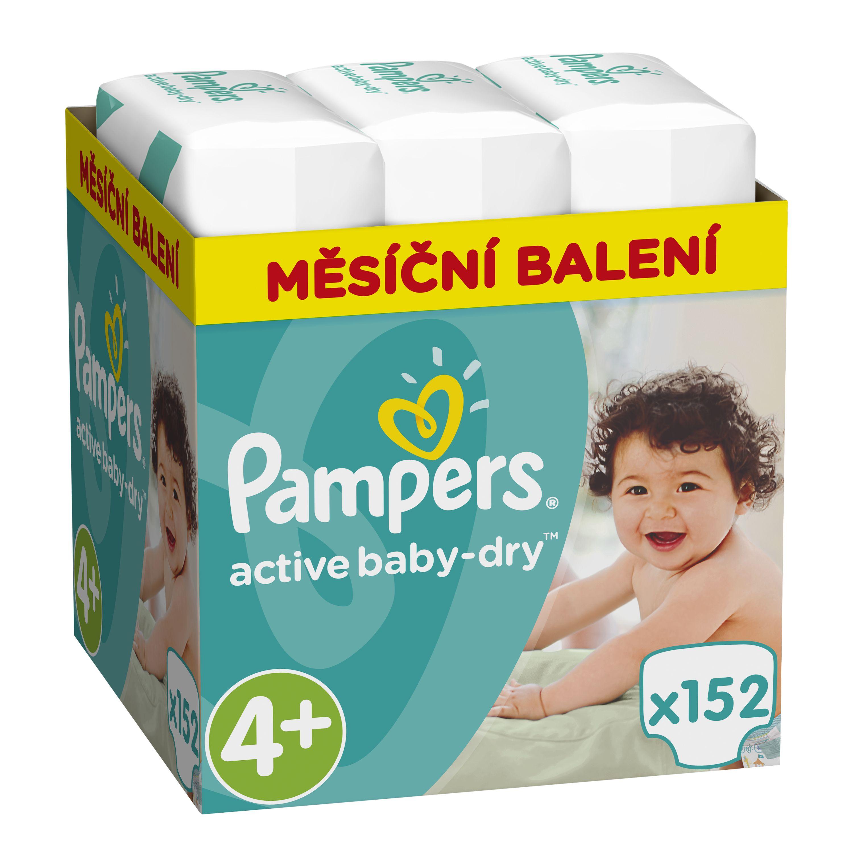 Pampers Active Baby-Dry Dětské pleny Maxi+ 9-18 kg Monthly Box 152 ks