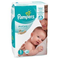 Pampers Pro Care S1 2–5 kg dětské pleny 38 ks