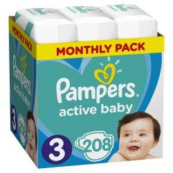 Pampers Active Baby vel. 3 dětské pleny Monthly Box 208 ks