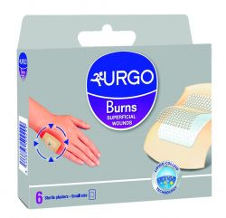 Urgo Burns Na popáleniny 5 x 7 cm lipidokoloidní náplast 6 ks