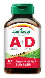 Jamieson Vitamíny A+D Premium 10 000/800 IU 100 kapslí