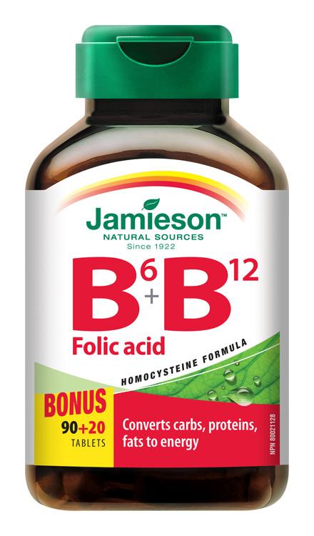 JAMIESON Vitamíny B6, B12 a kyselina listová tbl.110
