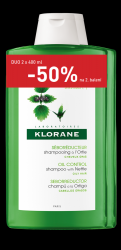 KLORANE Šampon s výtažkem z kopřivy duopack 2x400 ml