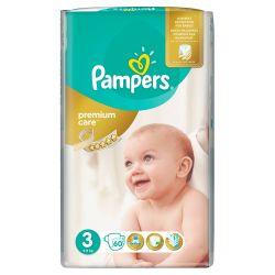 Pampers Premium Care Dětské pleny velikost 3 60 ks