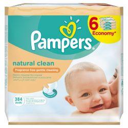 Pampers Natural Clean čisticí ubrousky 6x64 ks