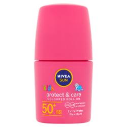 Nivea SUN Protect & Care Dětské barevné mléko na opalování SPF50+ roll-on 50 ml růžové