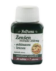 Medpharma Ženšen 350 mg + echinacea + leuzea 37 tablet