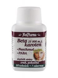 Medpharma Beta karoten 25 000 m.j. + Panthenol + PABA 37 tobolek