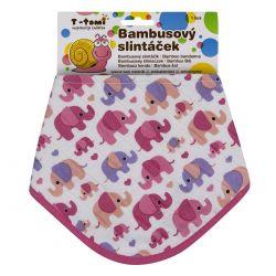 T-tomi Bambusový BIO slintáček 1 ks růžoví sloni