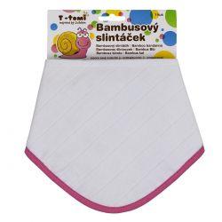 T-tomi Bambusový BIO slintáček 1 ks bílý růžový okraj