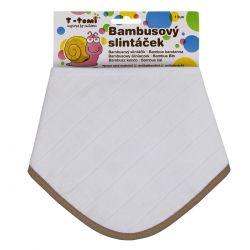 T-tomi Bambusový BIO slintáček 1 ks bílý béžový okraj