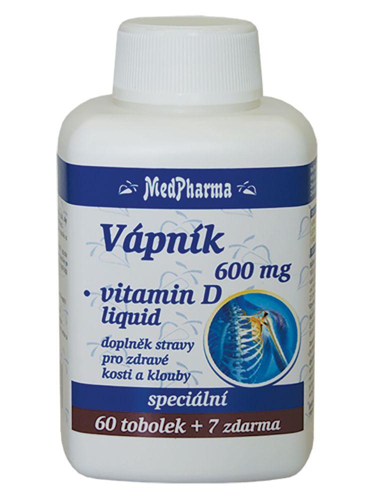 MedPharma Vápník 600mg+Vitamín D liquid tob.67