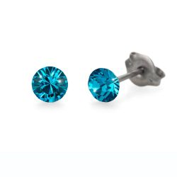 Náušnice Chaton Mini blue zircon