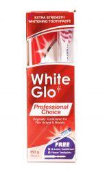 White Glo Professional Choice bělicí zubní pasta 150 g + kartáček