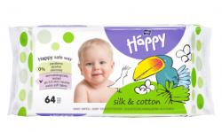 Bella Happy Hedvábí & Bavlna vlhčené ubrousky 64 ks
