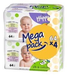 Bella Baby Happy Čistící ubrousky hedvábí a bavlna mega pack 4x64 ks