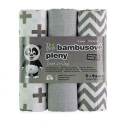 T-tomi Bambusové BIO pleny sada 3 ks šedé stříšky