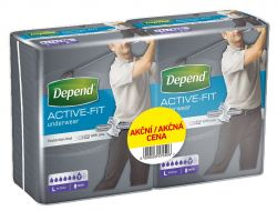 Depend Active-Fit pro muže vel. L inkontinenční kalhotky duopack 2x8 ks