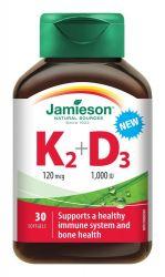 Jamieson Vitamíny K2 120 μg a D3 1 000 IU 30 kapslí