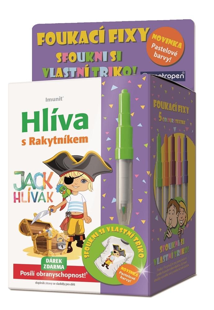 Imunit Jack Hlívák Hlíva s rakytníkem pro děti 60 tablet + pastelové foukací fixy jako dárek