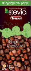 Torras Negro Dark čokoláda s lískovými ořechy a stevií 125 g