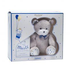 Mustela Dárkový set modrý Jemná toaletní voda pro děti 50 ml + plyšový medvídek