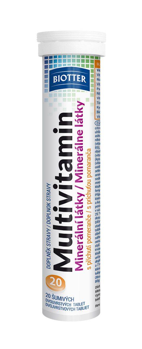 Biotter Multivitamín minerální látky 20ks šumivých tablet příchuť pomeranč
