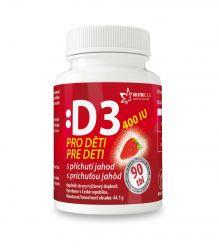 Nutricius Vitamín D3 400 IU pro děti s příchutí jahod 90 tablet