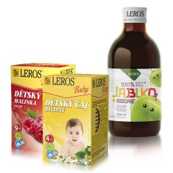 Leros Baby Ovocná šťáva jablko + aronie 250 ml + dětské čaje Bylinný a Ovocný