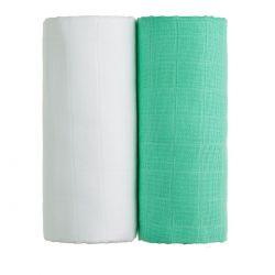 T-tomi Látkové TETRA osušky 100x90 cm 2 ks bílá + zelená